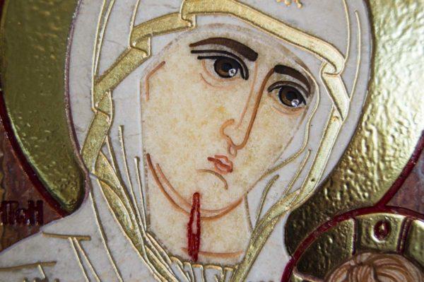 Икона Иверской Божией Матери № 1-25-3 из мрамора, камня, от Гливи, фото 14