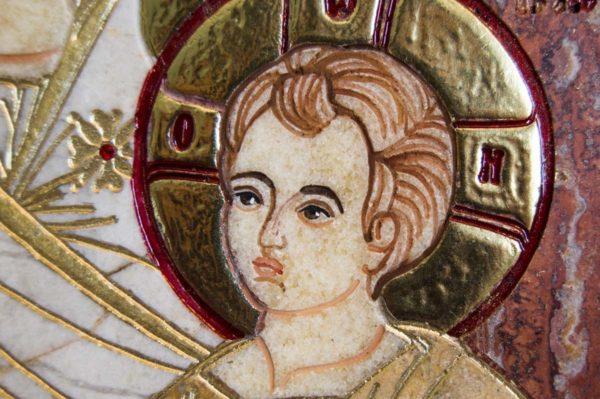 Икона Иверской Божией Матери № 1-25-3 из мрамора, камня, от Гливи, фото 2