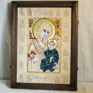 Икона Иверской Божией Матери № 1-25-6 из мрамора, камня, от Гливи, фото 5