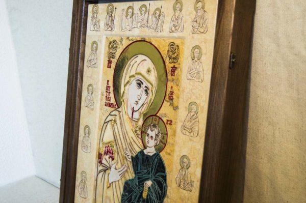 Икона Иверской Божией Матери № 1-25-6 из мрамора, камня, от Гливи, фото 7