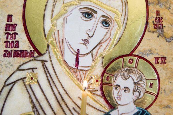 Икона Иверской Божией Матери № 1-25-6 из мрамора, камня, от Гливи, фото 12