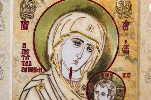 Икона Иверской Божией Матери № 1-25-6 из мрамора, камня, от Гливи, фото 4