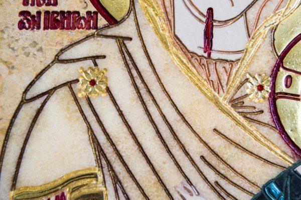 Икона Иверской Божией Матери № 1-25-6 из мрамора, камня, от Гливи, фото 3