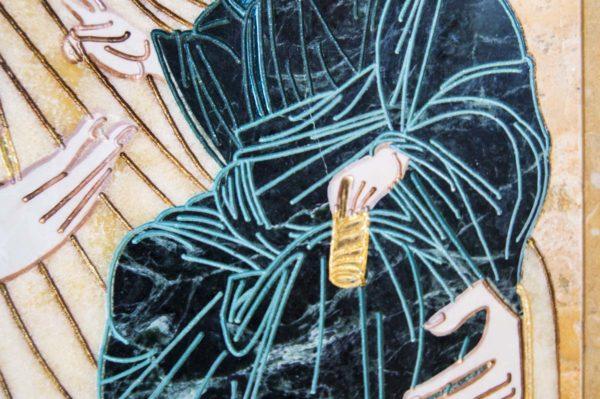 Икона Иверской Божией Матери № 1-25-6 из мрамора, камня, от Гливи, фото 2