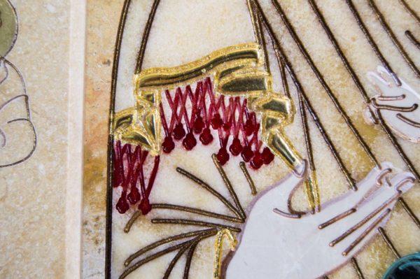 Икона Иверской Божией Матери № 1-25-6 из мрамора, камня, от Гливи, фото 8