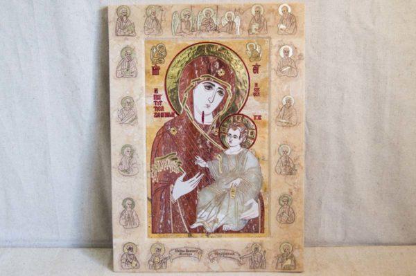 Икона Иверской Божией Матери № 1-25-9 из мрамора, камня, от Гливи, фото 4