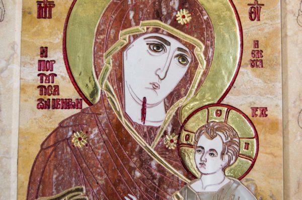 Икона Иверской Божией Матери № 1-25-9 из мрамора, камня, от Гливи, фото 2