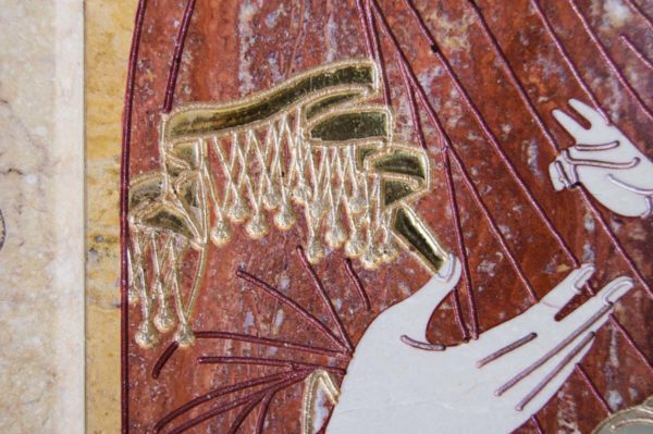 Икона Иверской Божией Матери № 1-25-9 из мрамора, камня, от Гливи, фото 1