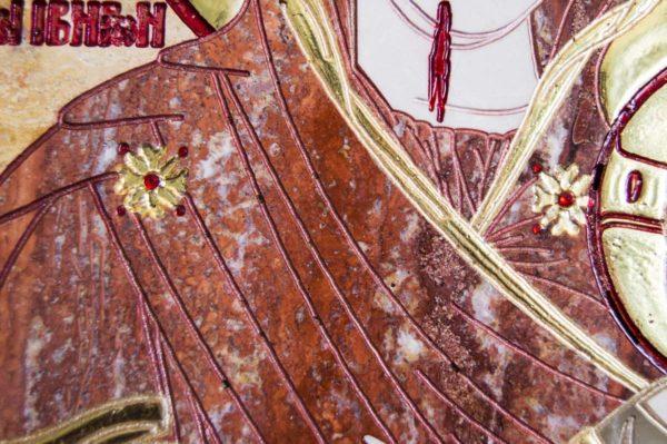 Икона Иверской Божией Матери № 1-25-9 из мрамора, камня, от Гливи, фото 16