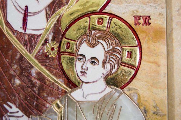 Икона Иверской Божией Матери № 1-25-9 из мрамора, камня, от Гливи, фото 7