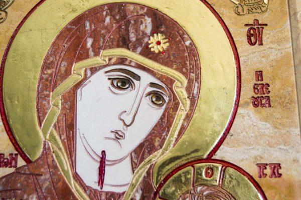 Икона Иверской Божией Матери № 1-25-9 из мрамора, камня, от Гливи, фото 9
