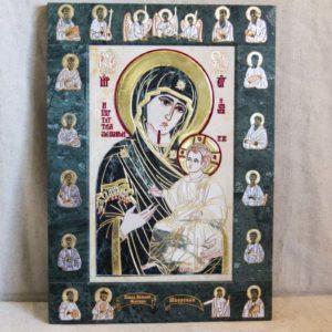 Икона Иверской Божией Матери № 1-25-10 из мрамора, камня, от Гливи, фото 4