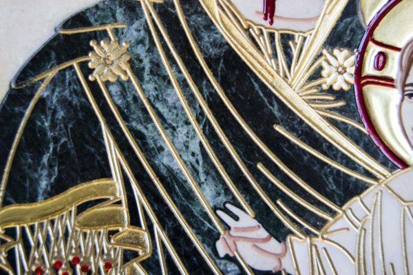 Икона Иверской Божией Матери № 1-25-10 из мрамора, камня, от Гливи, фото 6