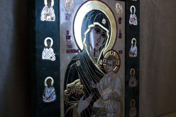 Икона Иверской Божией Матери № 1-25-10 из мрамора, камня, от Гливи, фото 7