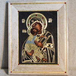 Икона Владимирской Божией Матери № 1-1 из мрамора, камня, от Гливи, фото 3