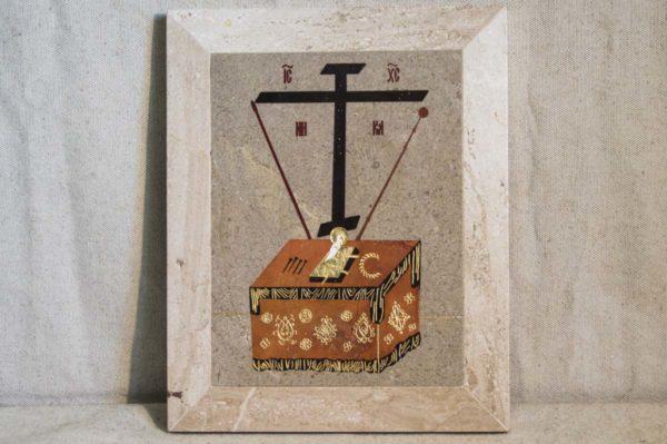 Икона Владимирской Божией Матери № 1-1 из мрамора, камня, от Гливи, фото 4