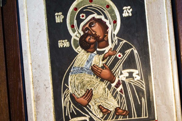 Икона Владимирской Божией Матери № 1-1 из мрамора, камня, от Гливи, фото 1