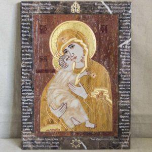 Икона Владимирской Божией Матери № 2-12-2 из мрамора, камня, от Гливи, фото 6