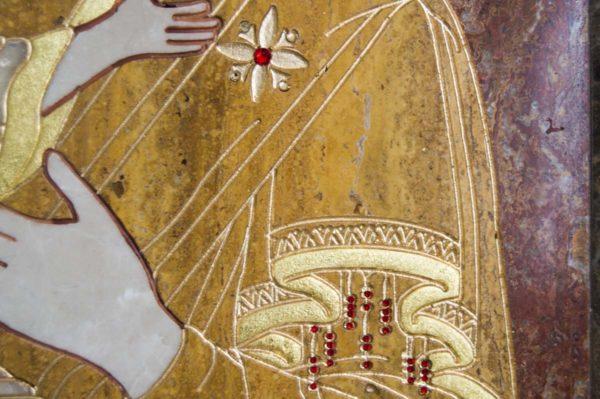Икона Владимирской Божией Матери № 2-12-2 из мрамора, камня, от Гливи, фото 8