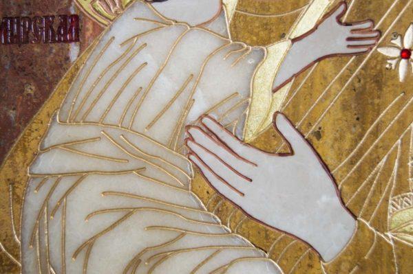 Икона Владимирской Божией Матери № 2-12-2 из мрамора, камня, от Гливи, фото 3