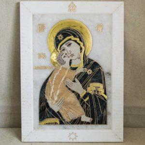 Икона Владимирской Божией Матери № 2-12-3 из мрамора, камня, от Гливи, фото 7