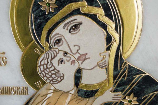 Икона Владимирской Божией Матери № 2-12-3 из мрамора, камня, от Гливи, фото 1