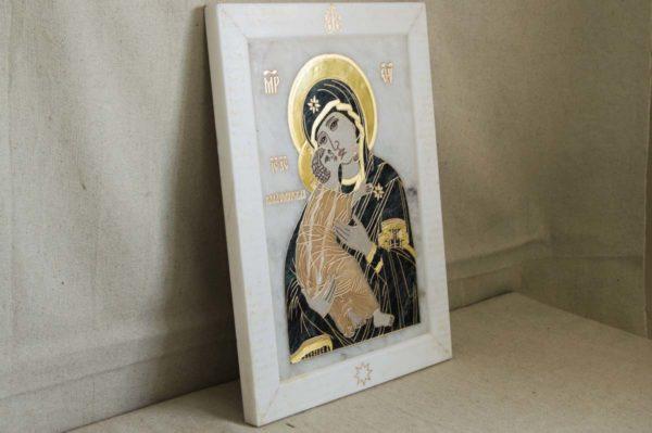 Икона Владимирской Божией Матери № 2-12-3 из мрамора, камня, от Гливи, фото 3