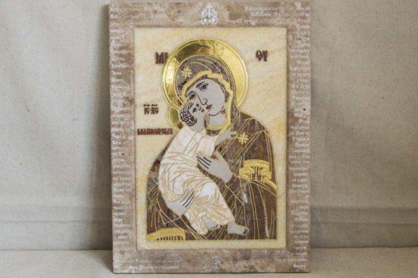 Икона Владимирской Божией Матери № 2-12-4 из мрамора, камня, от Гливи, фото 6