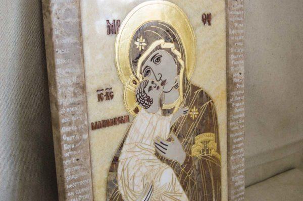 Икона Владимирской Божией Матери № 2-12-4 из мрамора, камня, от Гливи, фото 7