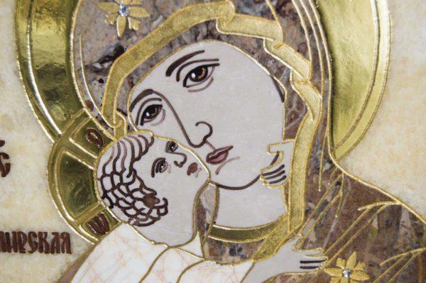 Икона Владимирской Божией Матери № 2-12-4 из мрамора, камня, от Гливи, фото 2