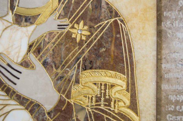 Икона Владимирской Божией Матери № 2-12-4 из мрамора, камня, от Гливи, фото 3