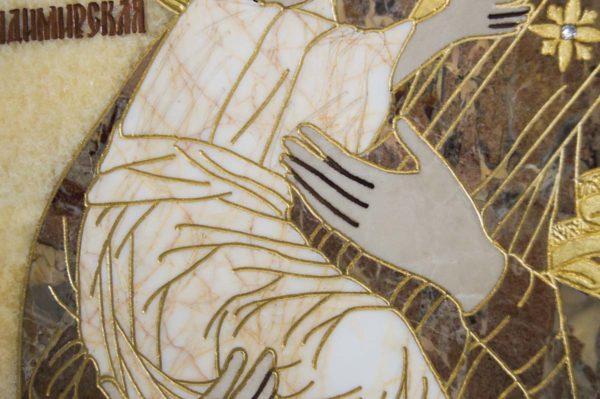 Икона Владимирской Божией Матери № 2-12-4 из мрамора, камня, от Гливи, фото 5