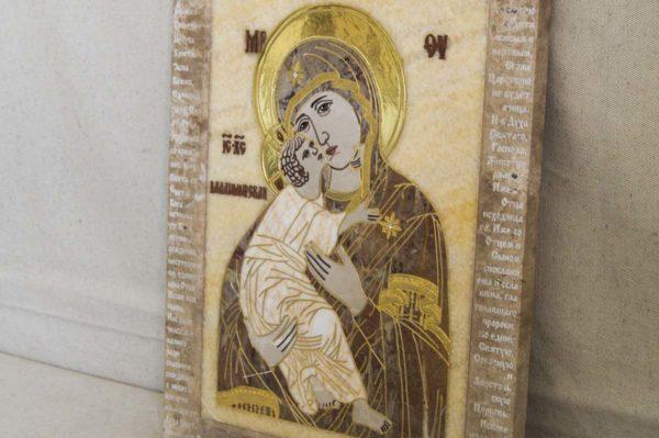 Икона Владимирской Божией Матери № 2-12-4 из мрамора, камня, от Гливи, фото 1
