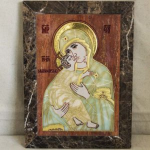 Икона Владимирской Божией Матери № 2-12-6 из мрамора, камня, от Гливи, фото 1