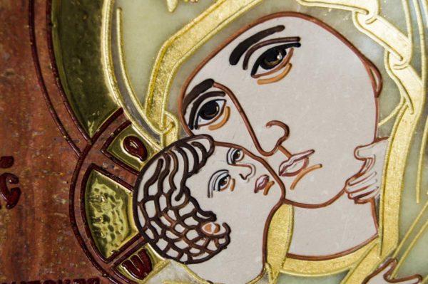 Икона Владимирской Божией Матери № 2-12-6 из мрамора, камня, от Гливи, фото 2