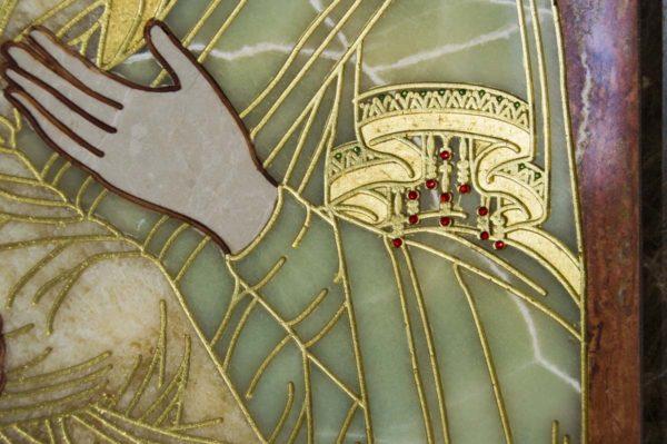 Икона Владимирской Божией Матери № 2-12-6 из мрамора, камня, от Гливи, фото 3