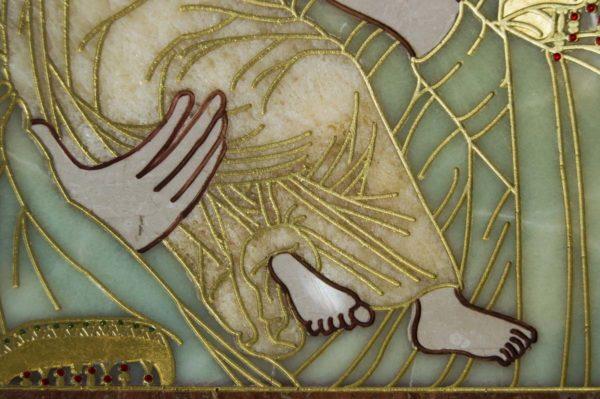 Икона Владимирской Божией Матери № 2-12-6 из мрамора, камня, от Гливи, фото 4