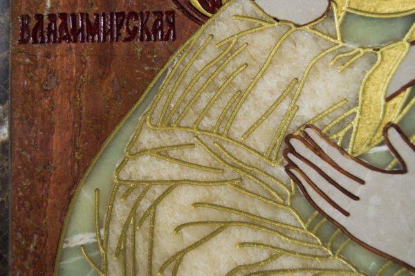 Икона Владимирской Божией Матери № 2-12-6 из мрамора, камня, от Гливи, фото 5