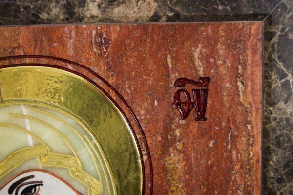 Икона Владимирской Божией Матери № 2-12-6 из мрамора, камня, от Гливи, фото 6