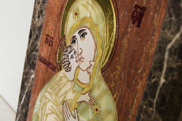 Икона Владимирской Божией Матери № 2-12-6 из мрамора, камня, от Гливи, фото 7