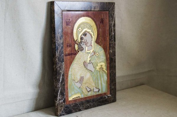 Икона Владимирской Божией Матери № 2-12-6 из мрамора, камня, от Гливи, фото 8