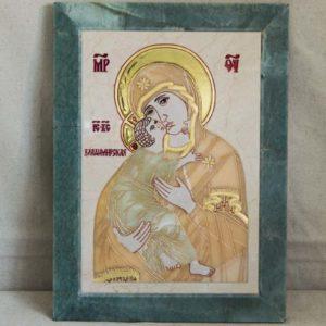 Икона Владимирской Божией Матери № 2-12-8 из мрамора, камня, от Гливи, фото 1