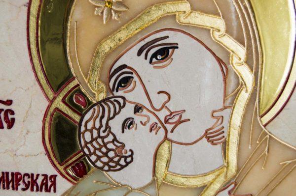 Икона Владимирской Божией Матери № 2-12-8 из мрамора, камня, от Гливи, фото 3
