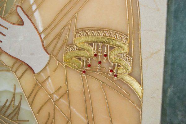 Икона Владимирской Божией Матери № 2-12-8 из мрамора, камня, от Гливи, фото 7