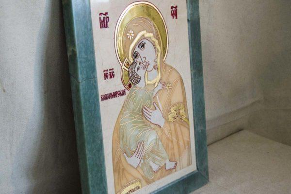 Икона Владимирской Божией Матери № 2-12-8 из мрамора, камня, от Гливи, фото 9