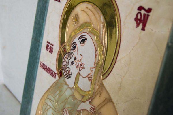 Икона Владимирской Божией Матери № 2-12-8 из мрамора, камня, от Гливи, фото 10