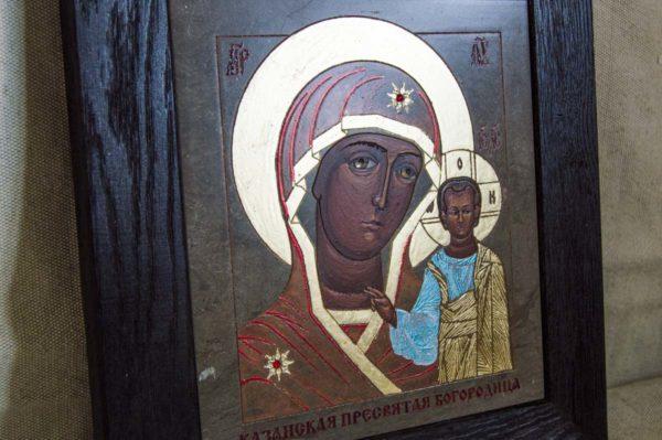 Икона Казанской Божией Матери № 1-09 подарочная из мрамора, камня, от Гливи, фото 2