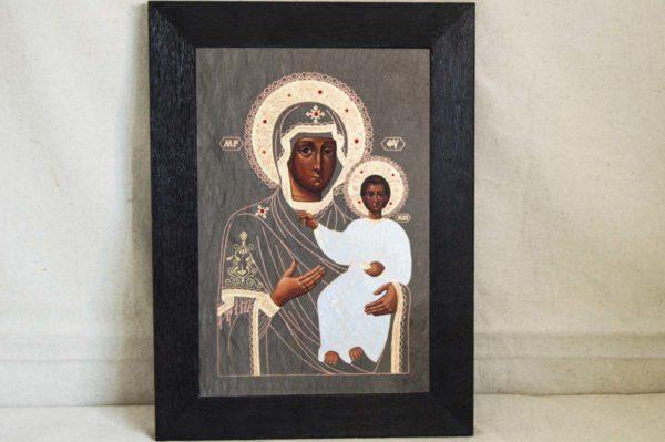 Икона Смоленской Божией Матери № 1-01 подарочная из мрамора, камня, изображение, фото 1