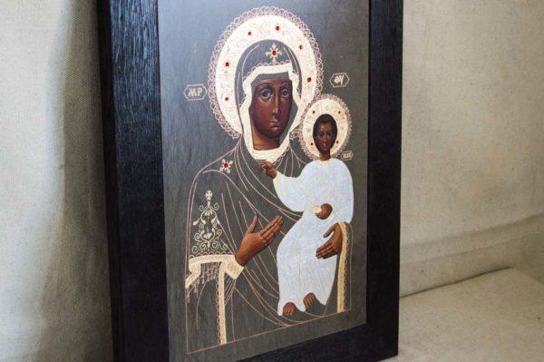 Икона Смоленской Божией Матери № 1-01 подарочная из мрамора, камня, изображение, фото 2
