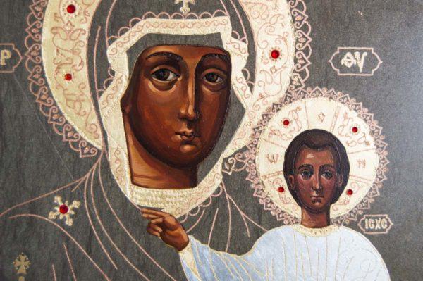 Икона Смоленской Божией Матери № 1-01 подарочная из мрамора, камня, изображение, фото 3